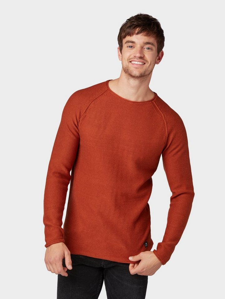 Herren TOM TAILOR Denim  Strickpullover Pullover mit Rollkanten orange | 04062105775616