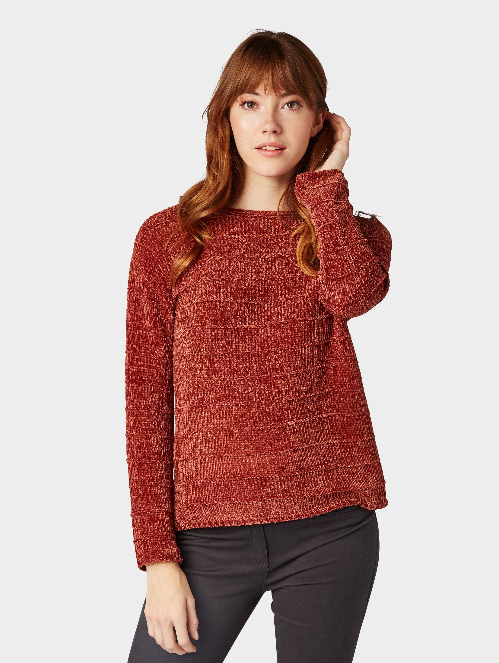 Tom Tailor Strickpullover »Pullover mit Streifen Struktur«, Langärmlig mit weitem Rundhalsausschnitt online kaufen | OTTO