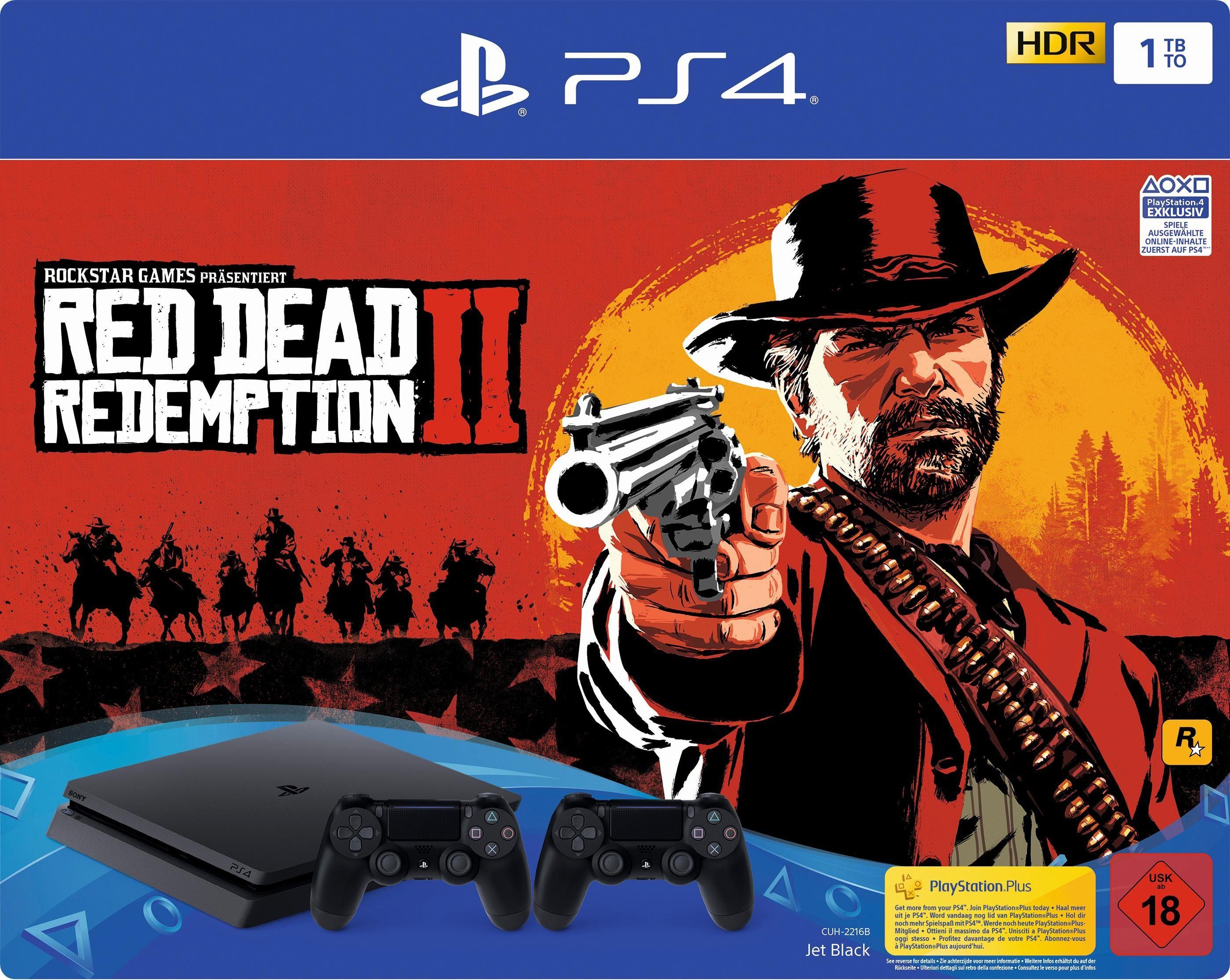 PlayStation 4 Slim (PS4 Slim) 1TB (Bundle, inkl. Red Dead Redemption 2 + 2 Wireless-Controller)