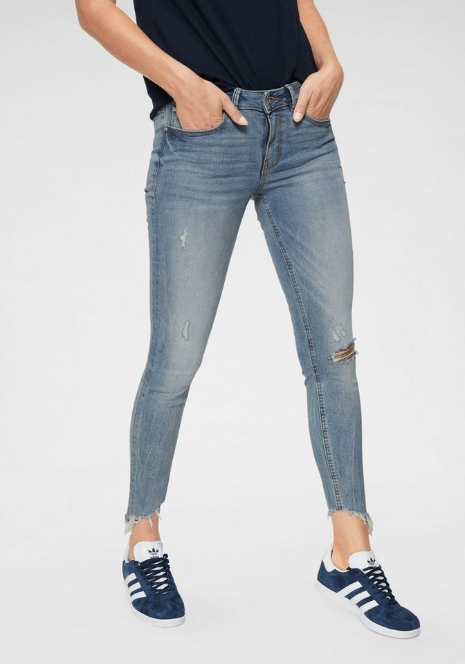 tom tailor denim skinny fit jeans mit ausgefranstem saum. Black Bedroom Furniture Sets. Home Design Ideas