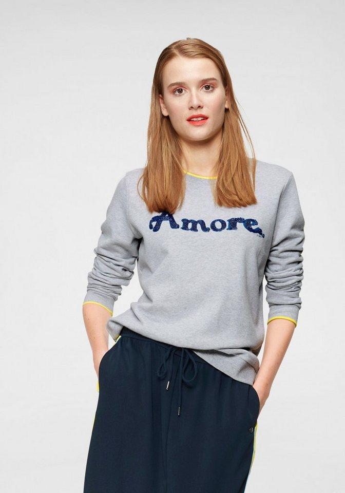 Damen Garcia Sweatshirt mit farbigen Glitzersteinen als Schriftzug grau | 08718212606423