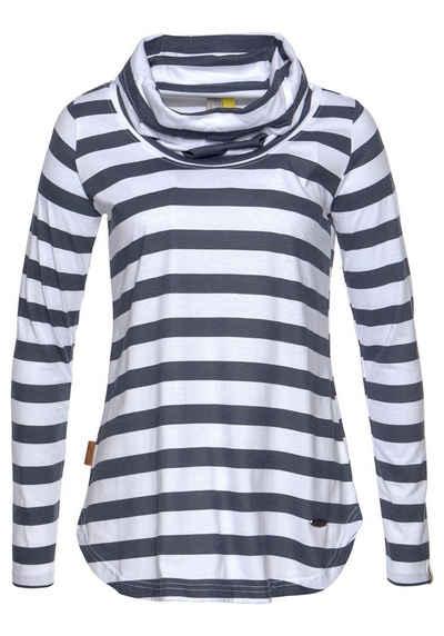 1aa7dfd7793cd1 alife and kickin Langarmshirt »LEILA« modisches Streifen Shirt mit  Schalkragen
