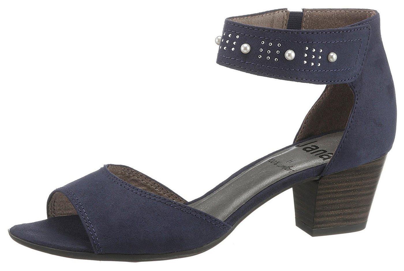 Damen Jana Sandalette mit angesagter Perlenverzierung, in Komfortweite H blau  Damen Sandalen/Sandaletten
