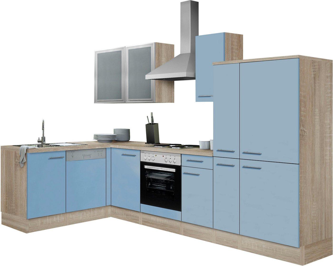OPTIFIT Winkelküche »Kalmar« mit E-Geräten, Stellbreite 300x175 cm   Küche und Esszimmer > Küchen > Winkelküchen   Blau   Eiche - Edelstahl   OPTIFIT
