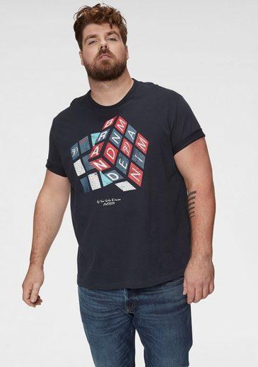 TOM TAILOR Denim Rundhalsshirt mit Ton in Ton Logostickerei