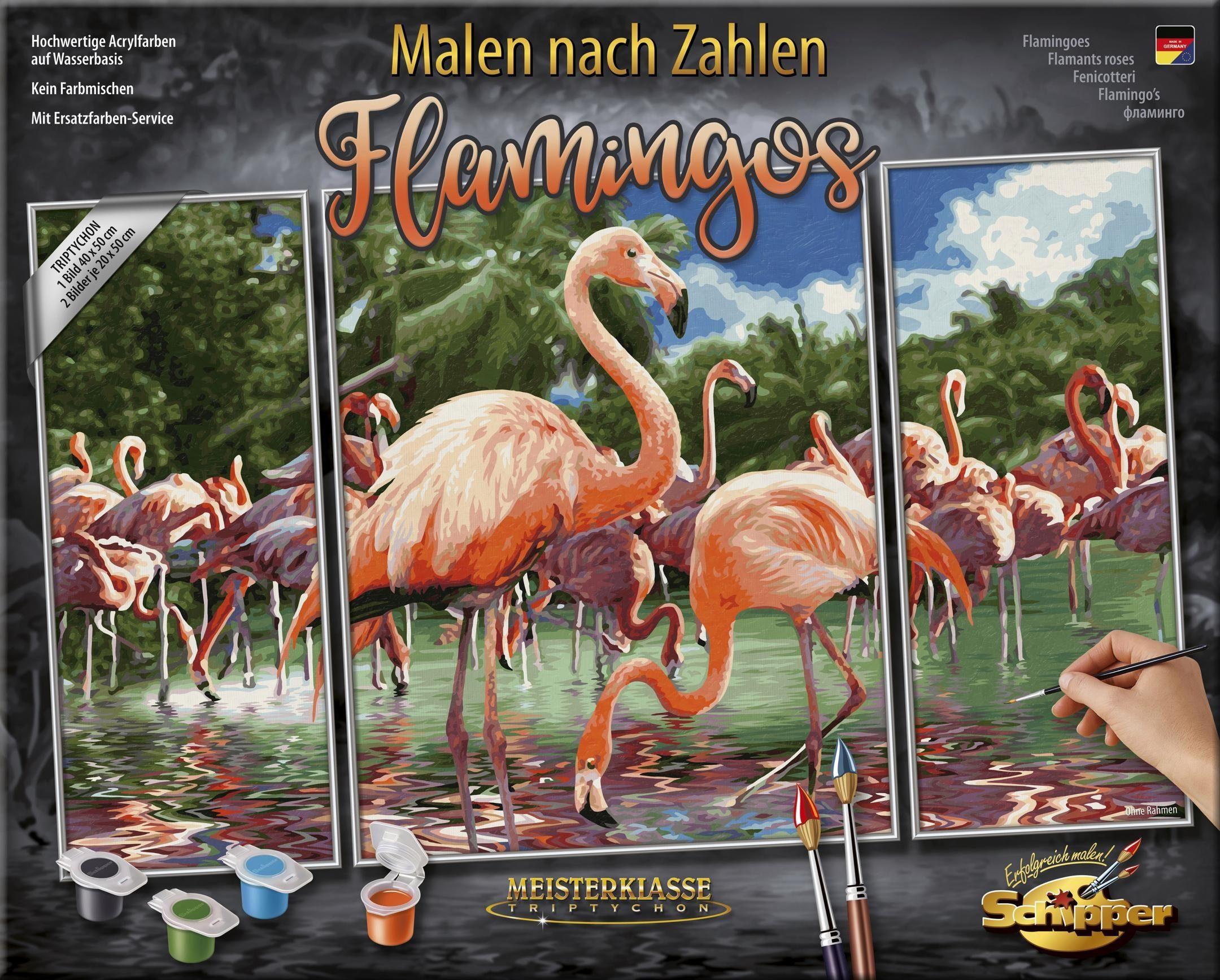 Schipper Malen nach Zahlen, »Meisterklasse Triptychon, Flamingos«