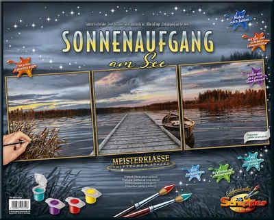 Schipper Malen nach Zahlen »Meisterklasse Triptychon, Sonnenaufgang am See«, Made in Germany