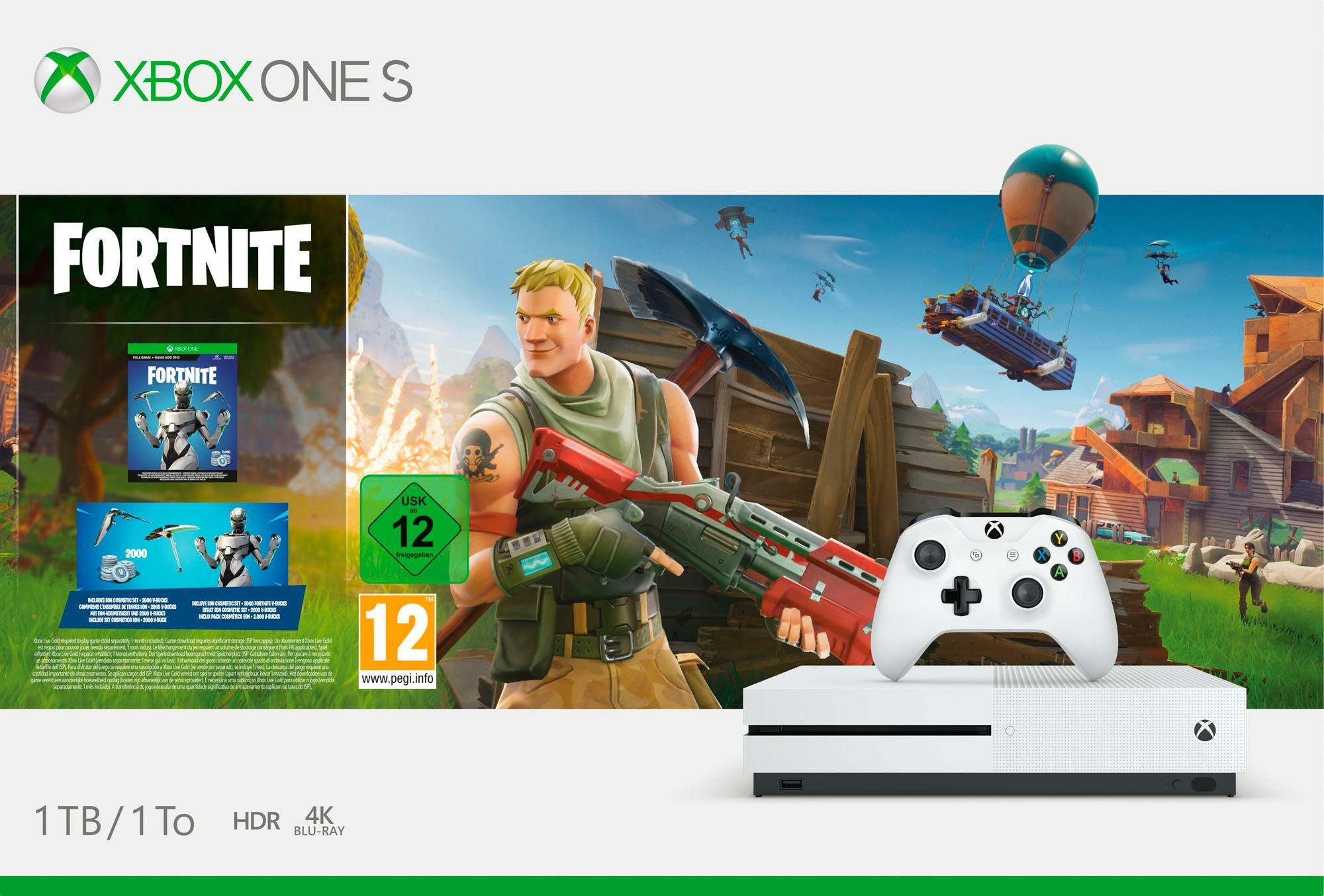 Xbox One S 1TB (Bundle, inkl. Fortnite Bundle (digitale Vollversion)