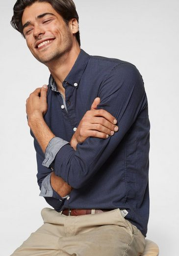 TOM TAILOR Denim Langarmhemd mit kontrastfarbener Manschette