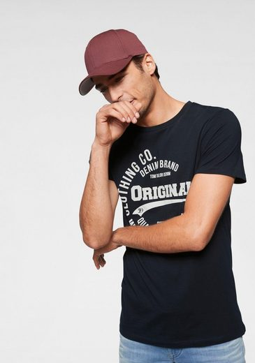 TOM TAILOR Denim Rundhalsshirt mit kontrastfarbenem Print