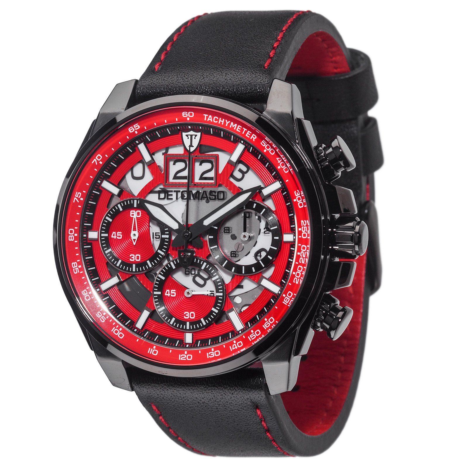 Detomaso Chronograph »LIVELLO BLACK RED«