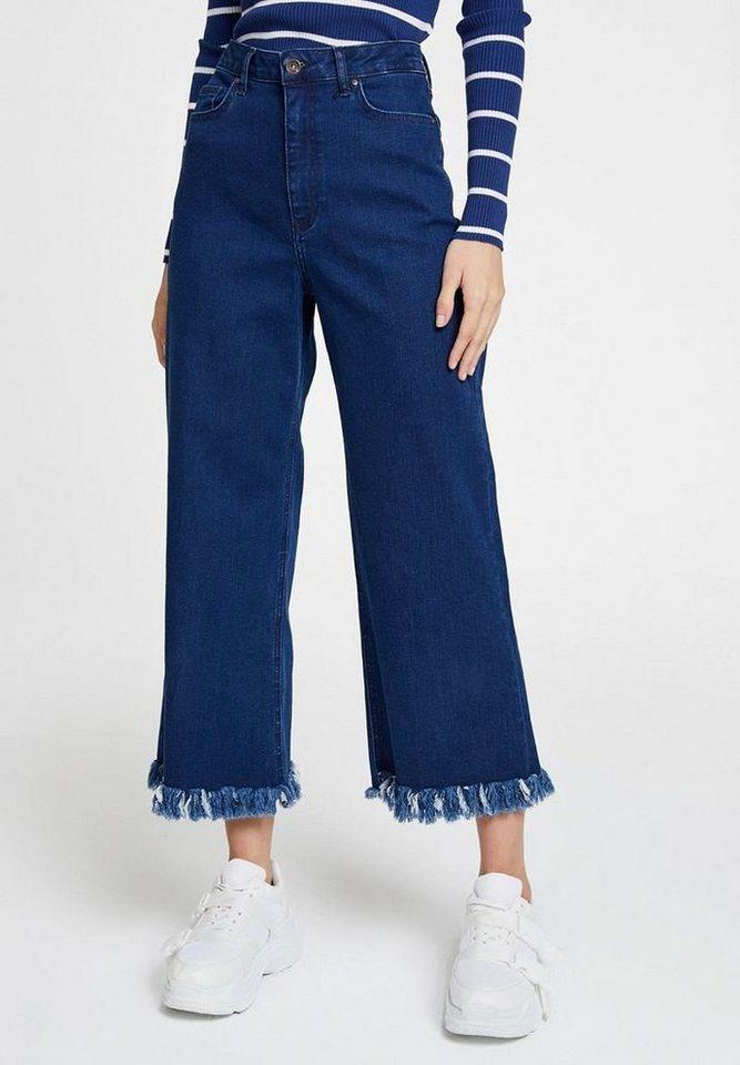 OXXO High-waist-Jeans mit hoher Taille und fransigen Säumen