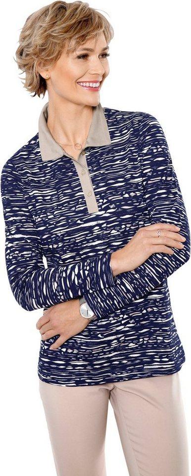 Damen Classic Basics Poloshirt im aparten Dessin blau | 08907682046352