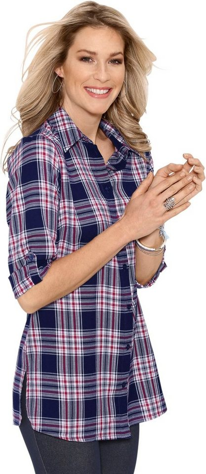 Damen Classic Basics Longbluse aus Flanell blau | 08901158169699