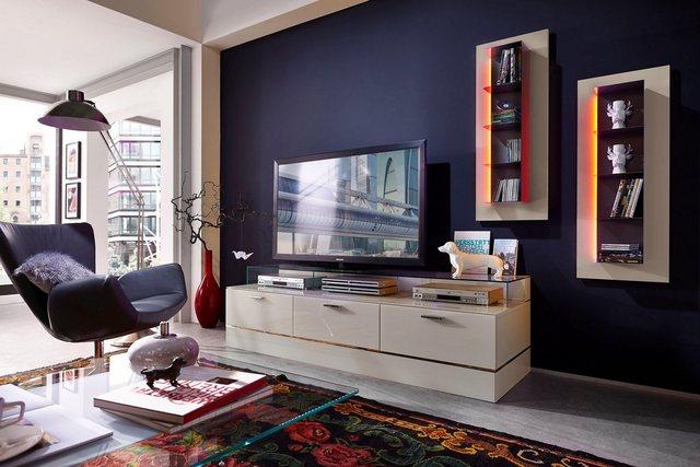 TV Möbel - LEONARDO living TV Bank »CUBE« für die Lowboards, mit 3 Glasfächern, Breite 189 cm  - Onlineshop OTTO