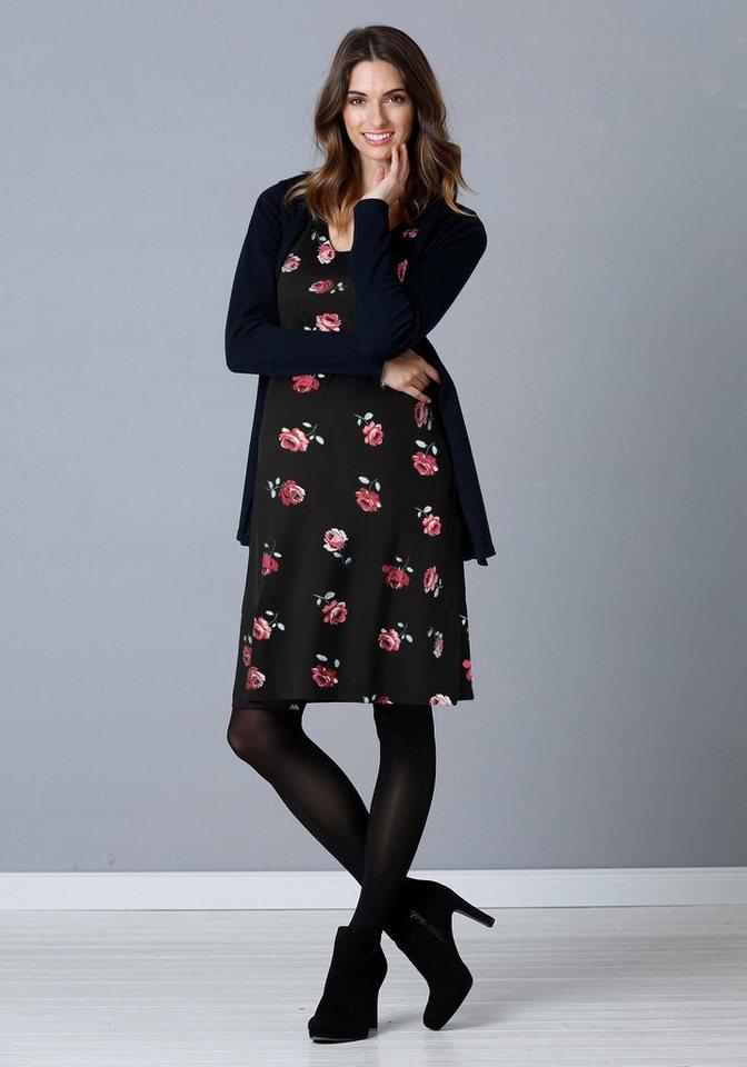 Damen Neun Monate  Umstandskleid mit Allover-Blumenmuster schwarz | 08696798036431
