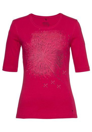 Olsen Rundhalsshirt mit plaziertem Pusteblumen-Druck
