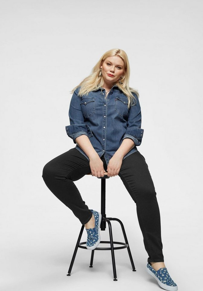 levi´s® plus -  Jeansbluse »Plus Size Western Shirt« Jeanshemd mit Druckknöpfen in Permuttoptik