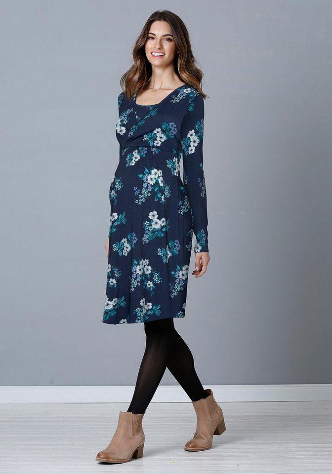 Damen Neun Monate  Umstandskleid mit Stillfunktion blau | 08696798036356