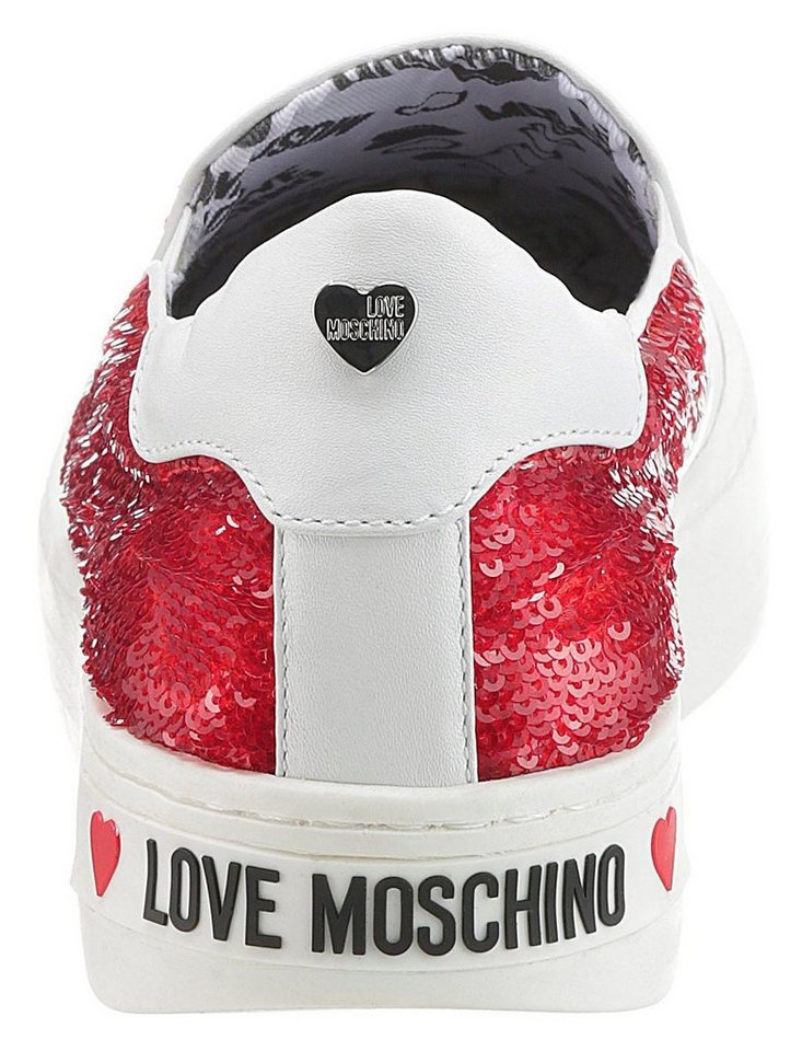 LOVE MOSCHINO Slip-On Sneaker mit Metallic-Herzchen