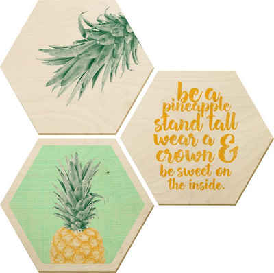 Wall-Art Bilder-Collage »Ananas«, (Set)