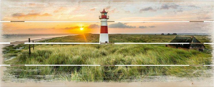 Holzbild »Leuchtturm auf Sylt«, Landschaft, Dünen