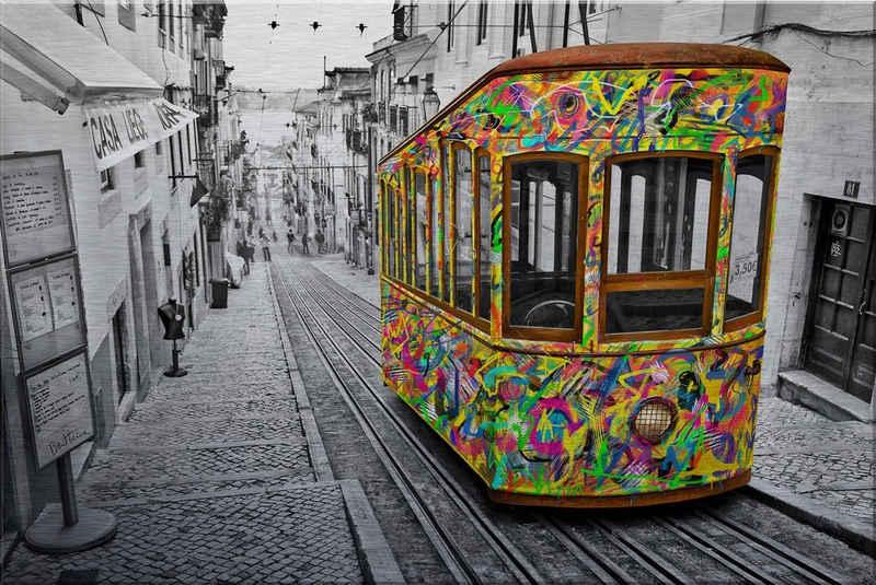 Wall-Art Metallbild »Ben Heine - Tram in Lissabon«, mit Silbereffekt