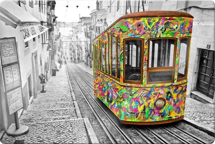 Glasbild »Ben Heine - Tram in Lissabon«, 100/0,4/70 cm