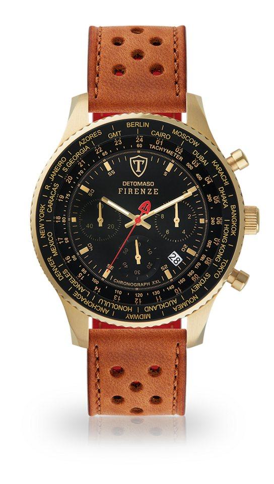 Detomaso Chronograph »FIRENZE XXL GOLD BLACK« | Uhren > Chronographen | Braun | Detomaso