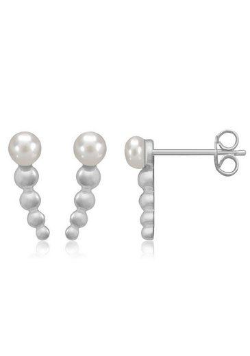 Firetti Paar Ohrstecker, mit Perlen (synth), kugelform, glanz, massiv