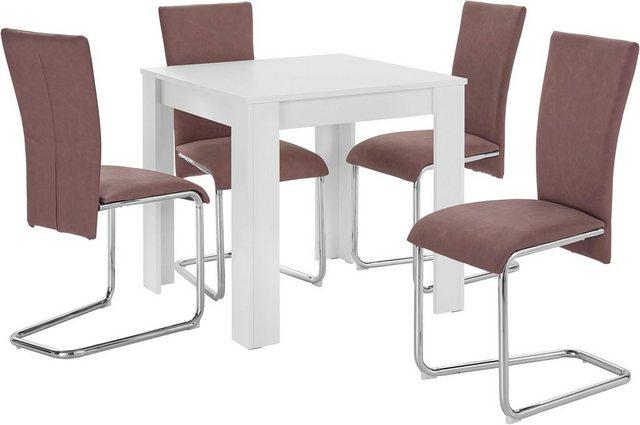 Essgruppen - Homexperts Essgruppe »Nick1 Mulan«, (Set, 5 tlg), mit 4 Stühlen, Tisch in weiß, Breite 80 cm  - Onlineshop OTTO