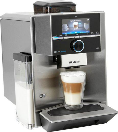 SIEMENS Kaffeevollautomat EQ.9 s500 TI9555X1DE, individualCoffee System: Persönliches Getränke-Menü für bis zu 10 Profile. Home Connect App.