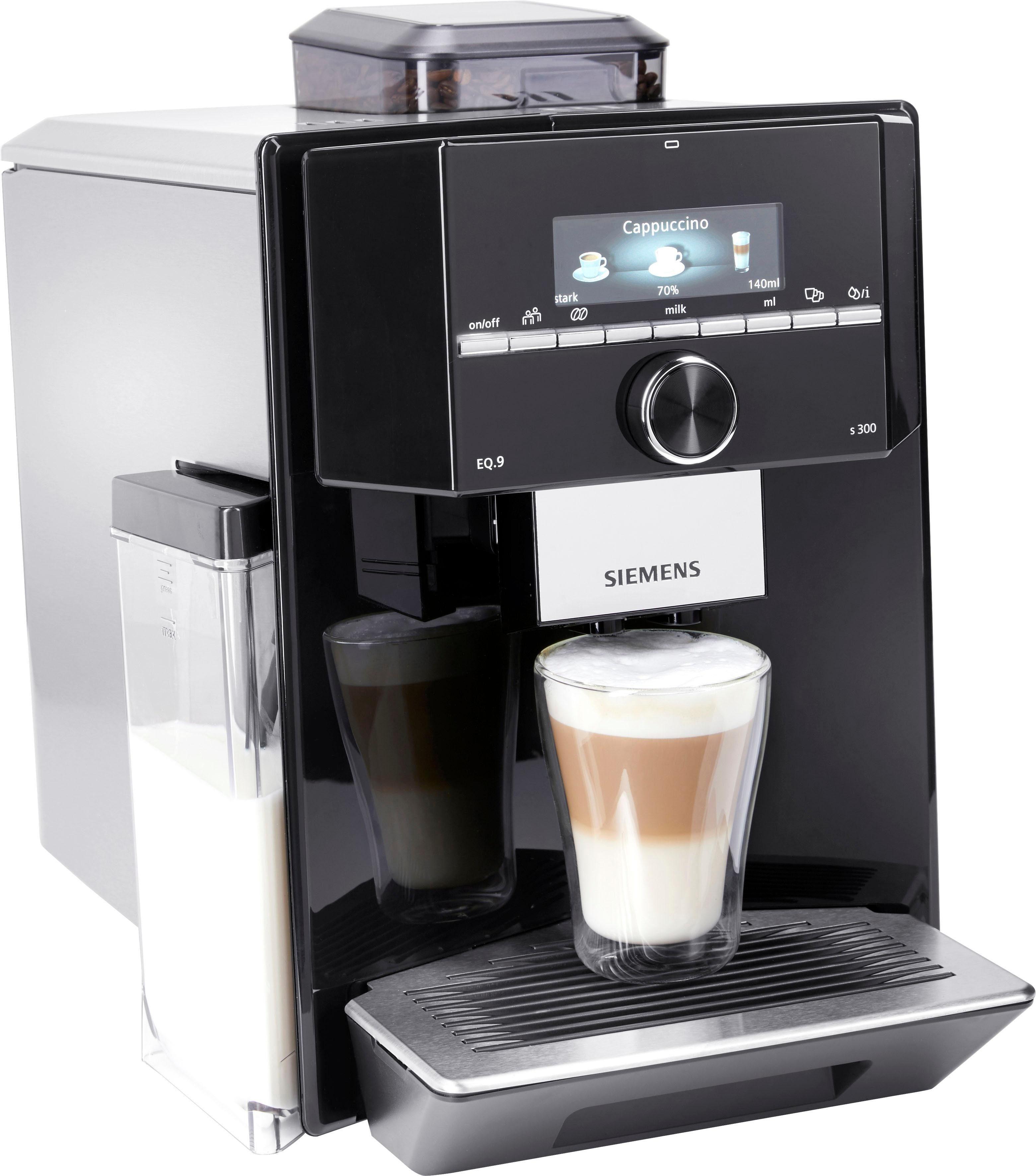 SIEMENS Kaffeevollautomat Kaffeevollautomat EQ.9 s300 TI923509DE, individualCoffee System: Persönliches Getränke-Menü für bis zu 6 Profile.