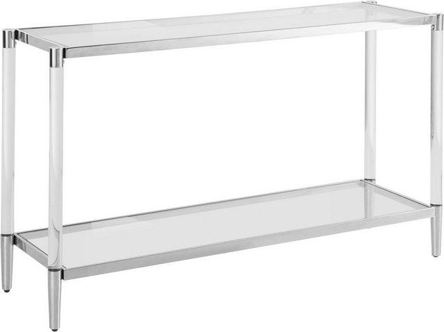 Wohnzimmertische - Leonique Beistelltisch »Ceadda«, Konsolentisch mit Glasbeinen und einer Glastischplatte, Breite 130 cm  - Onlineshop OTTO
