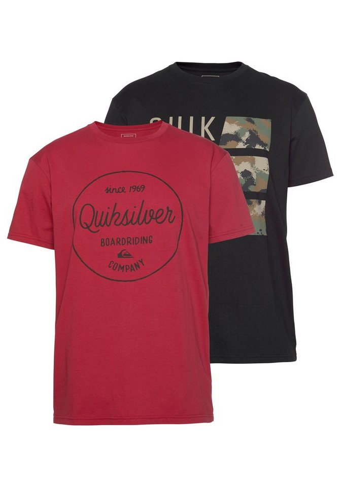 Herren Quiksilver T-Shirt FLAXTO PACK MORNING CAMO (Packung 2 tlg. 2er-Pack) schwarz | 03613374413146