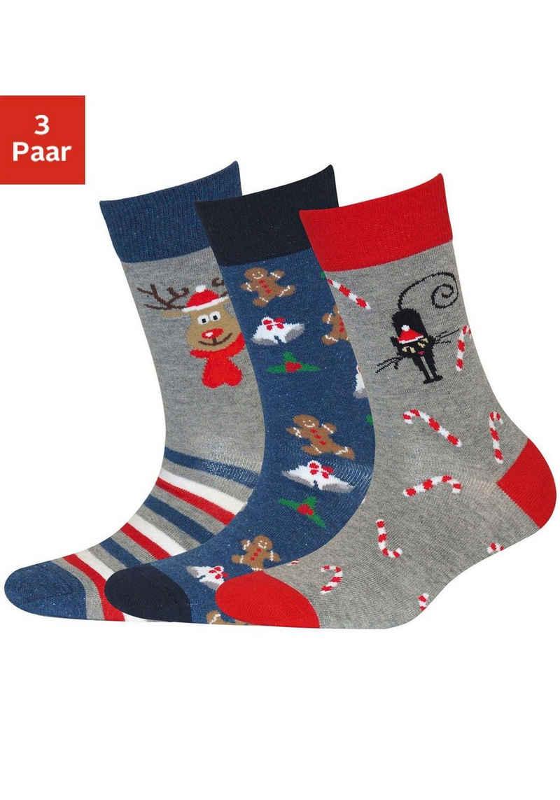 Sympatico Socken (3-Paar) mit Weihnachts-Design