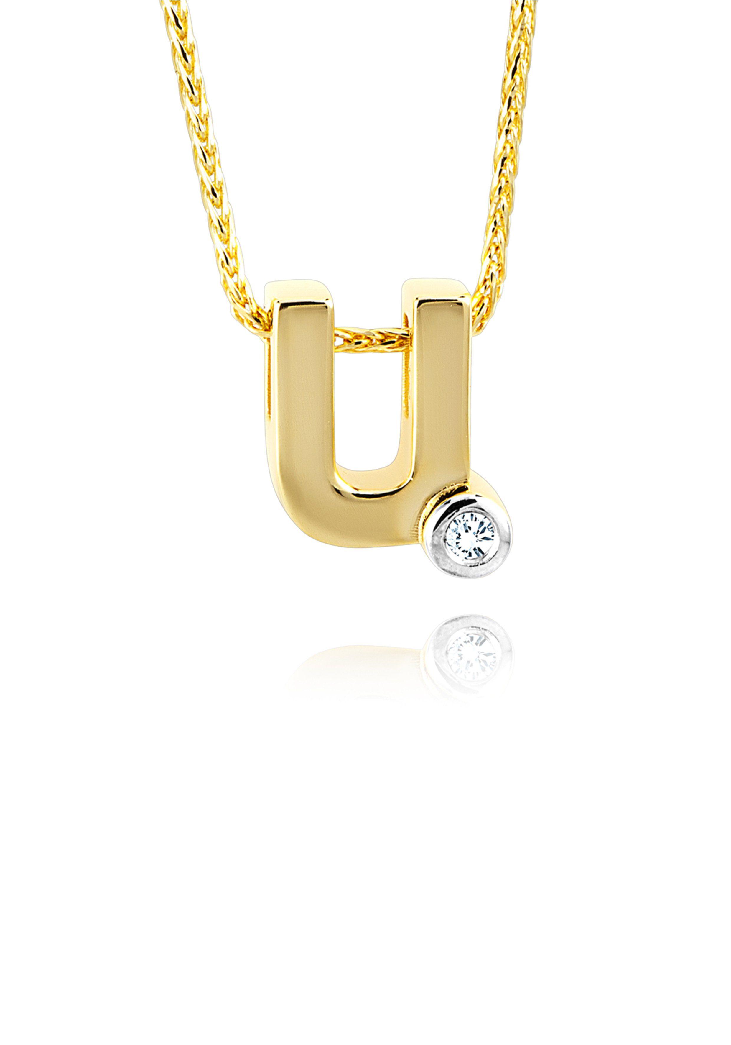 Diamond Line Goldkette mit Buchstabem U und Diamantbesatz