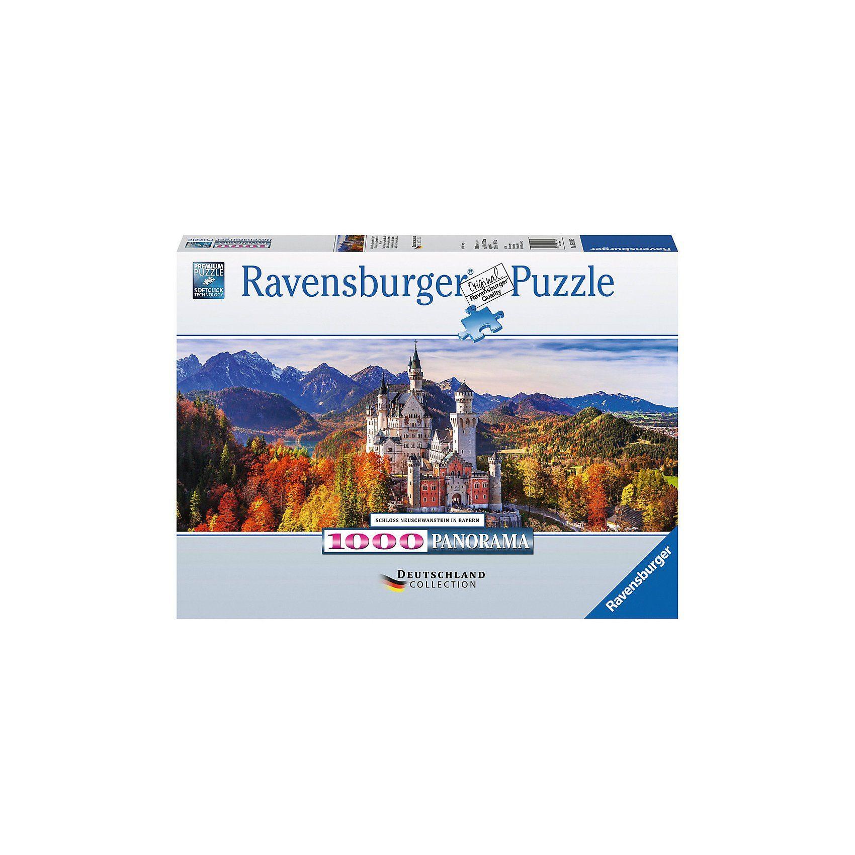 Ravensburger Puzzle 1000 Teile, 98x37 cm, Panorama, Schloss Neuschwanstei