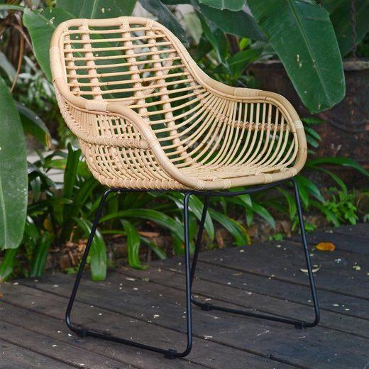 Casa Moro Stuhl »Casa Moro Rattan-Sessel Malaga mit Armlehne - aus Naturrattan handgeflochten - Premium Qualität Korb-Stuhl Korb-Sessel, Vintage Retro-Stuhl für Küche Garten Terrasse Esszimmer, IDSN55« Handmade