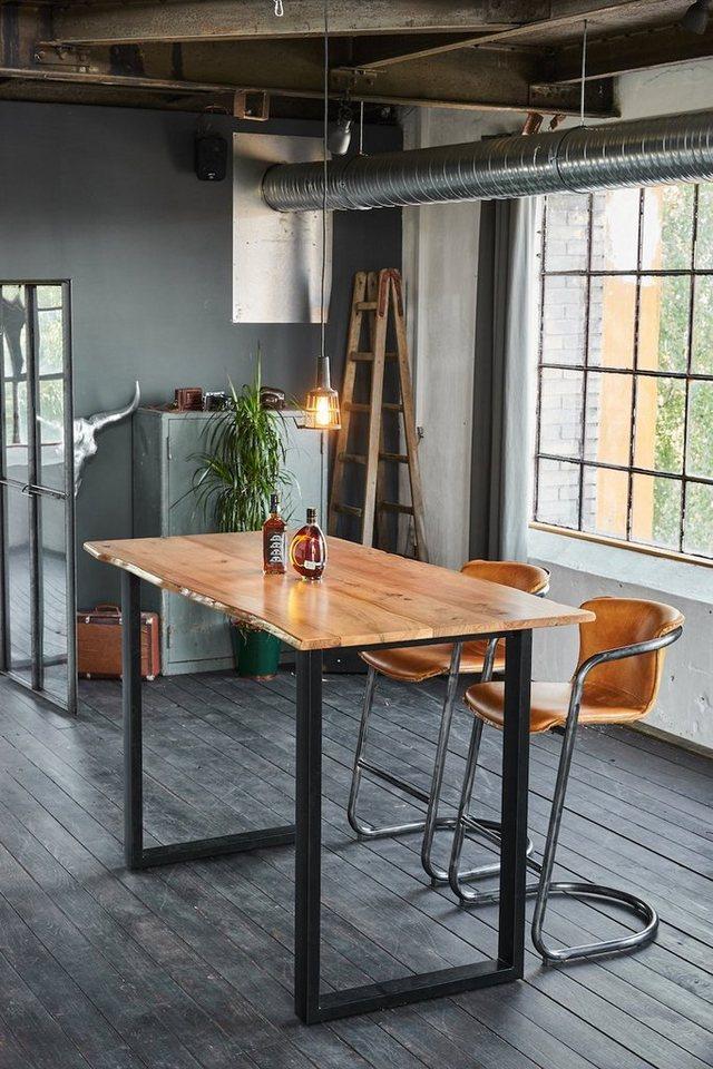 kawola bartisch stehtisch mit baumkante akazie versch gr en fu schwarz online kaufen otto. Black Bedroom Furniture Sets. Home Design Ideas