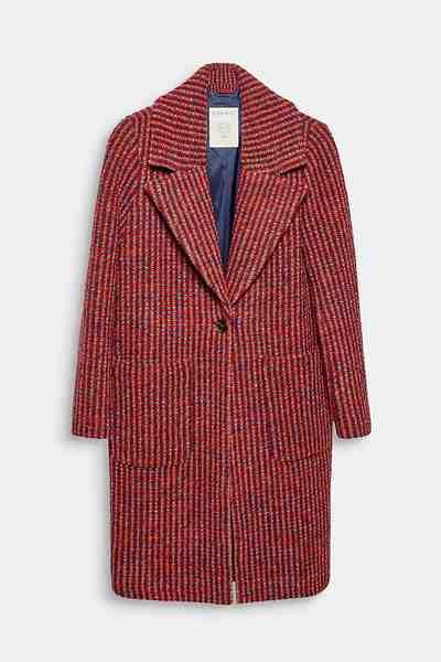 Esprit Aus Woll-Mix: Mantel mit Struktur