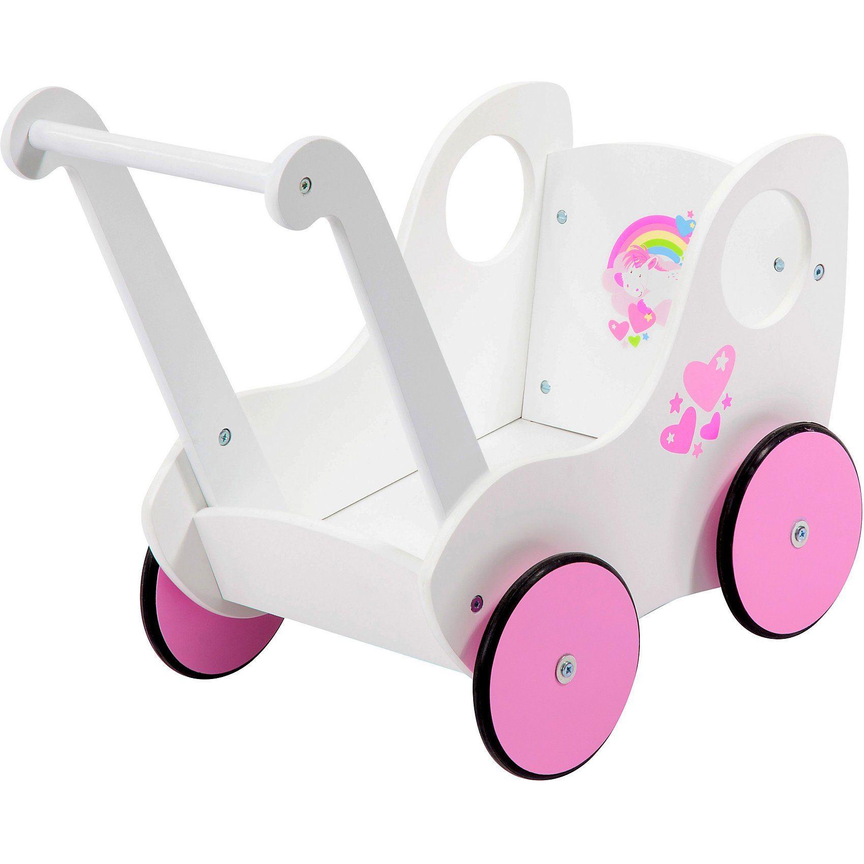 Bayer Holz-Puppenwagen weiß / rosa