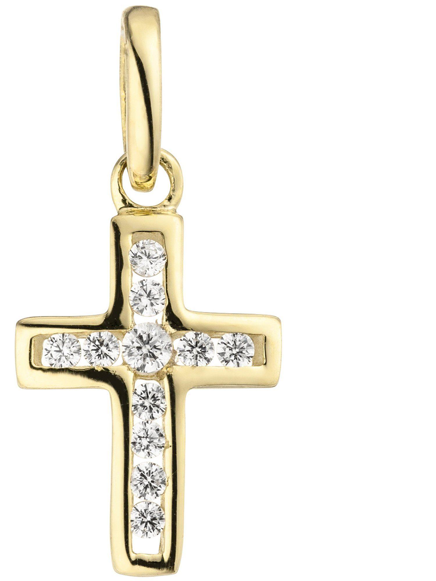 Adelia´s Kettenanhänger »Kreuz« 375 Gold mit Zirkonia
