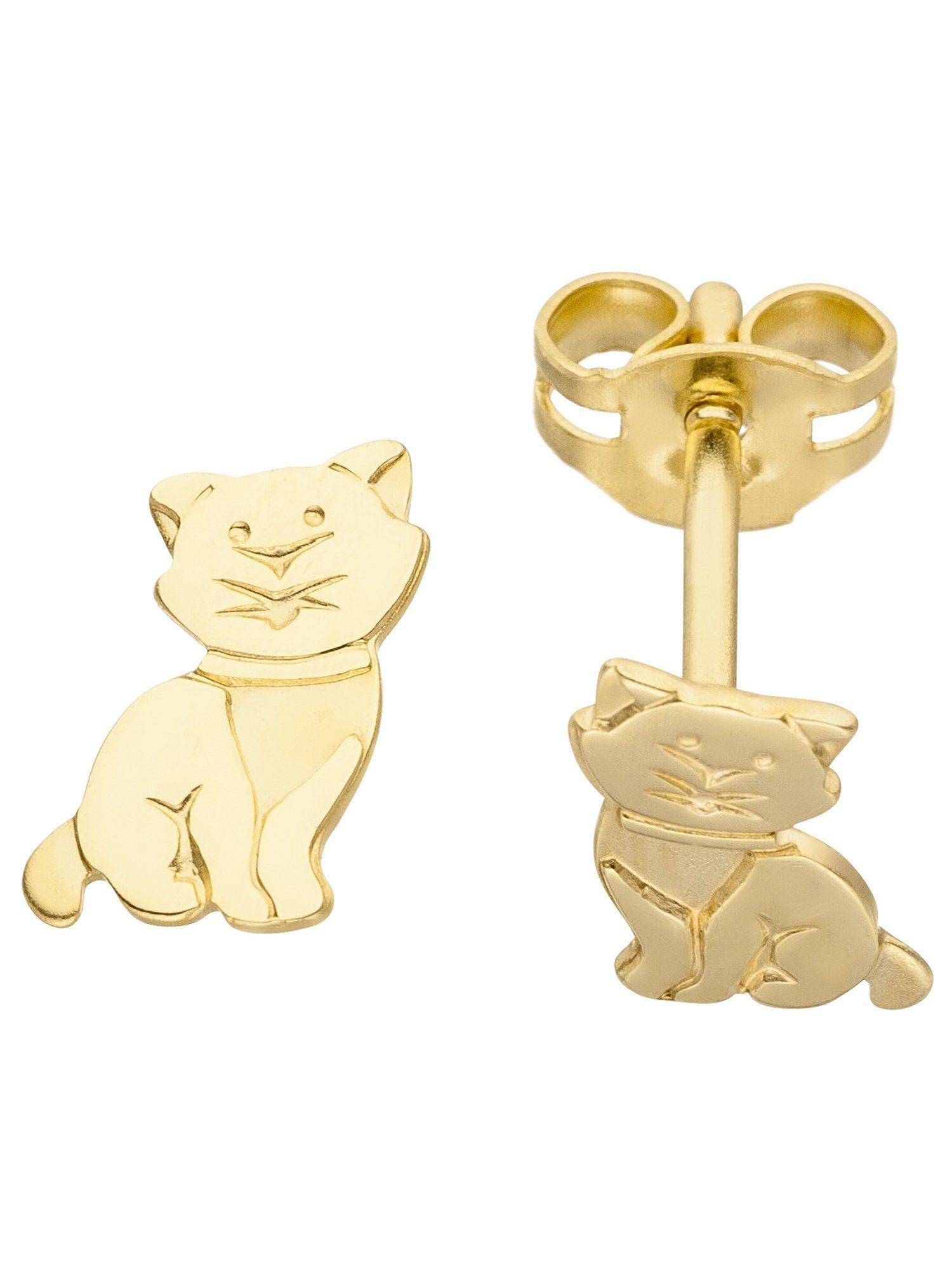 Adelia´s Paar Ohrstecker »Katze« 333 Gold