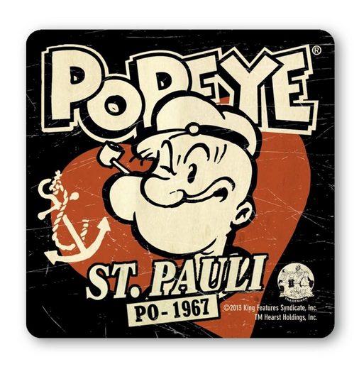 LOGOSHIRT Untersetzer im Retro-Look »Popeye der Seemann – St. Pauli«