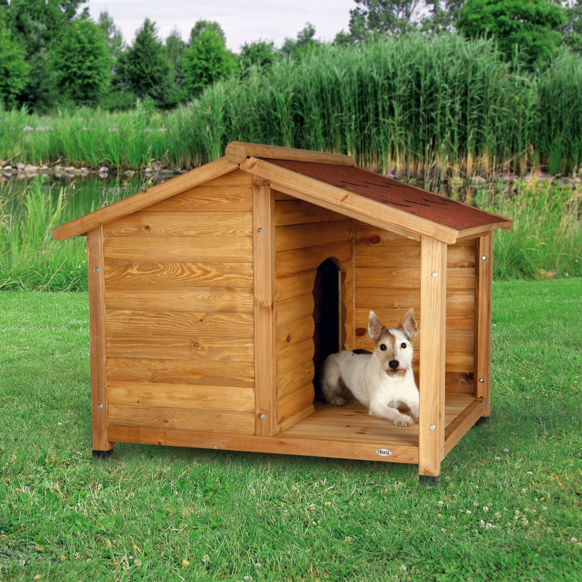 TRIXIE Hundehütte »Natura Lodge Blockhaus mit Terrasse«
