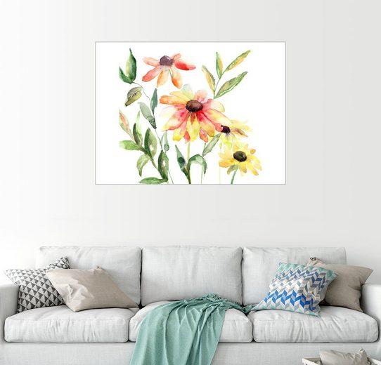 Posterlounge Wandbild »Blumen in Aquarell«
