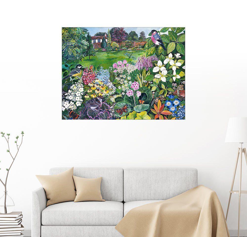 Posterlounge Wandbild - Hilary Jones »Der Garten mit Vögeln und Schmetterlingen«