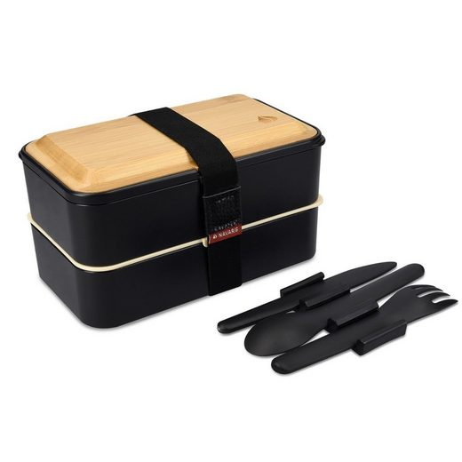 Navaris Lunchbox, Kunststoff, (1-tlg), Bento Box Set mit Besteck und Holz Deckel - Brotdose 2 Fächer luftdicht - inkl. Besteckhalter - Brotbox Set Kinder und Erwachsene