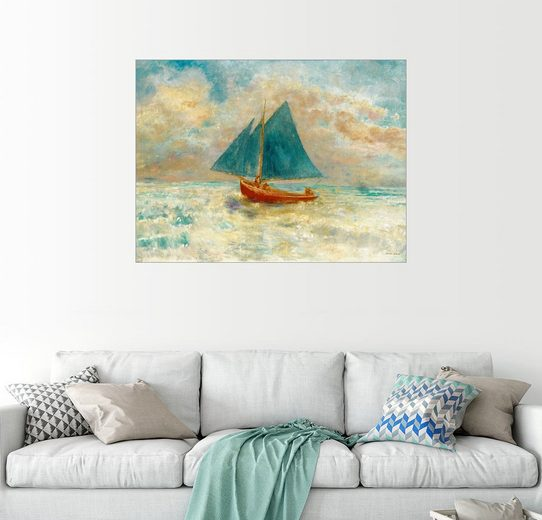 Posterlounge Wandbild - Odilon Redon »Rotes Boot mit blauem Segel«